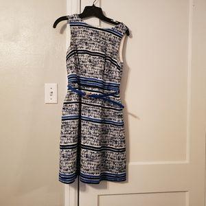 Navy Blue, Black & White Stripes Dress w/belt